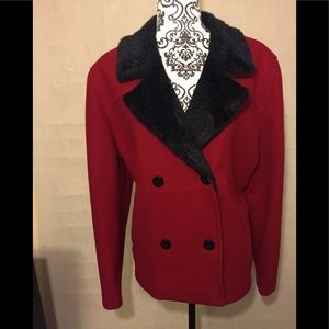 Red coat with black faux trim collar